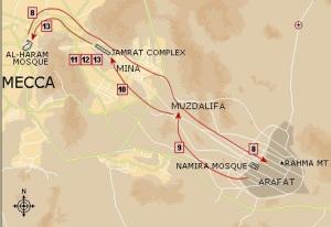 Rute perjalanan haji Mekah - Arafah - Muzdalifa - Mina - Mekah