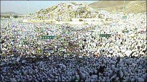 Jamaah haji wukuf di Arofah 9 Dhul-Hijjag, mulai matahari terbenam